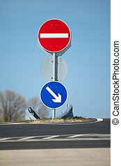 Traffic signs showing the right way