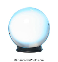 Blue fringed Crystal Ball - Crystal ball fringed with blue...