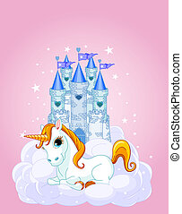 Sky Castle and unicorn - Illustration of a Fairy Tale castle...