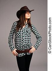 súper, Sexy, rodeo, Vaquera, vaquero, sombrero