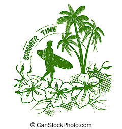 Summer time stamp with surfer on grunge background, vector...
