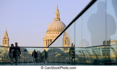 view of st paul's cathedral, from millennium bridge, london