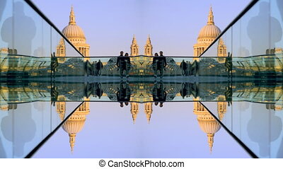 abstract view of st pauls cathedral, from millennium bridge,...