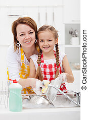 Woman and little girl washing dishes in the kitchen together