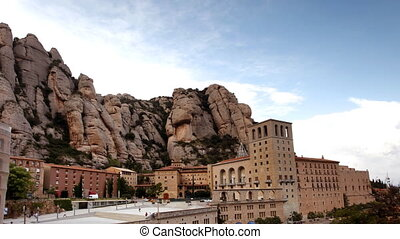 timelpase of the monestry in montserrat mountains in...
