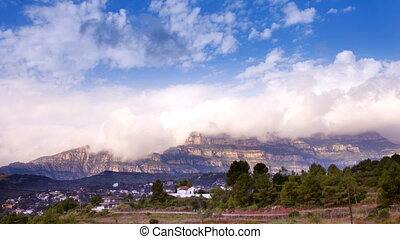 Timelapse of the famous and majestic montserrat mountains in...