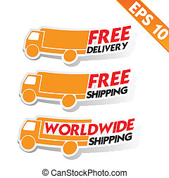 Free delivery logistic advertising transportation - Vector...