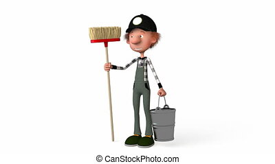 3d boy working - The 3D boy working with a mop Illustration...