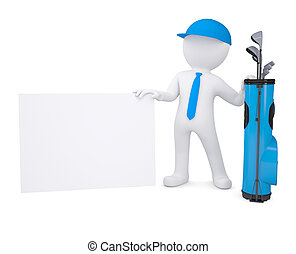 3d white man holding a cardboard card - 3d white man with a...