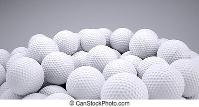 Background is out of golf balls. 3d render