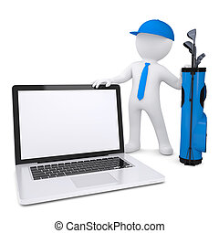 3d white man holding a laptop - 3d white man with a bag of...
