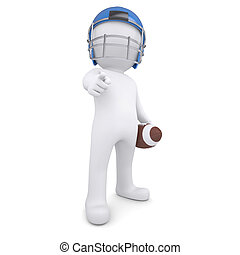 3d man points finger at the viewer - 3d man in a football...