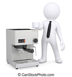 3d white man with a coffee machine. Isolated render on a...