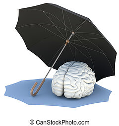 Umbrella covers the brain. Isolated render on a white...