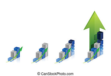 graph steps illustration design over a white background