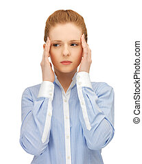 stressed woman holding her head with hands