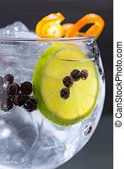 Gin tonic cocktail macro closeup with juniper berries orange...