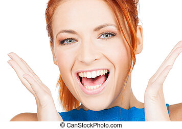 excited face of woman - bright picture of excited face of...