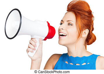 woman with megaphone - shouting woman with megaphone