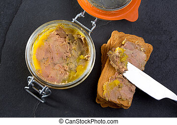 Canard Foie gras Pate made of the liver of a duck or goose...