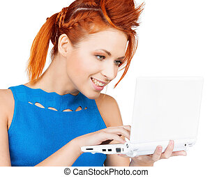 smiling woman with laptop computer - bright picture of...