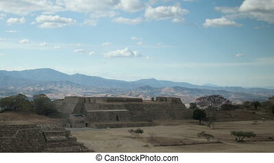 timelapse shot of the mayan ruins at mount alban, oaxaca,...