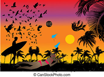 pacific ocean palm beach vector art