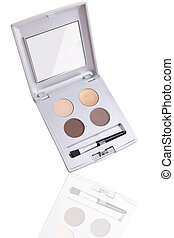 Eyeshadow palette with reflection isolated on white