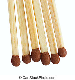 group of matches isolated on white background