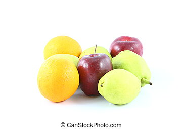 Orange pear apple over white background