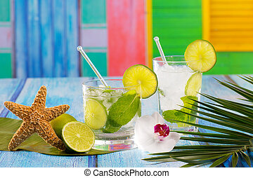 Cuban Mojito cocktail in tropical colorful house on blue...