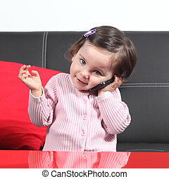 Casual baby on the phone - Portrait of a casual baby on the...