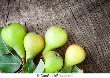 recientemente, cosechado, peras