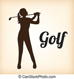 Golf player - Woman golf player over beige background vector...