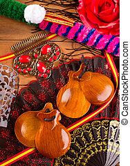 éléments, Castagnettes,  flamenco,  espana, espagne, typique