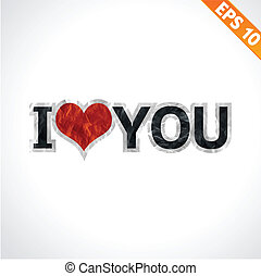 Label I love you paper texture sticker tag  - Vector illustration - EPS10