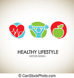 Healthy lifestyle icons - healthy lifestyle icons over...