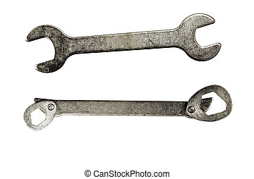 Spanners - Two spanners on plain background