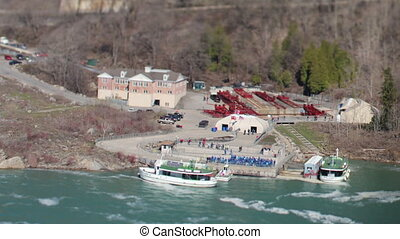 timelapse tourists boats at niagara falls, usa and canada