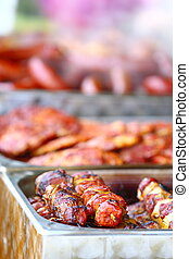 skewers shish kebab other meat on BBQ