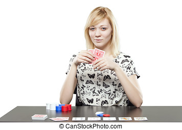 Blonde woman in business attire playing poker gambling -...