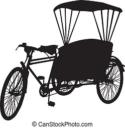 three wheel bicycle taxi silhouet - Silhouette of an old...