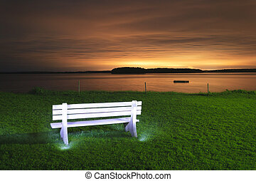 Light painted bench at sunset - Light painted white bench...