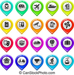 Map marker with icons-set five