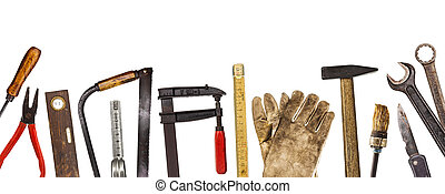 Old craftsman tools isolated on white background