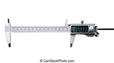 Digital Vernier Caliper - Isolated on White - Fully opened...