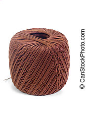 hank brown yarn isolated on a white background
