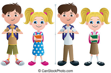 Students - Vector illustration of schoolboy and schoolgirl...