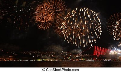 Light and fireworks show - Colorful fireworks all over the...