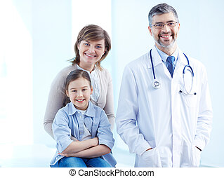 Females and doctor - Cute girl, her mother and doctor...